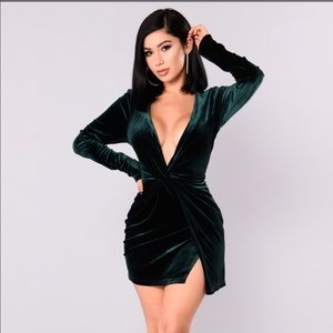 Fashion Nova Velour Green Dress